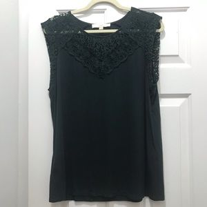 Forest Green Tank Top with Lace, LOFT, Size L